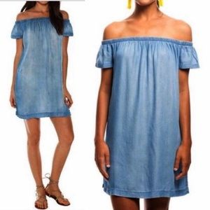 Anthro {Cloth & Stone} Chambray Off Shoulder Dress